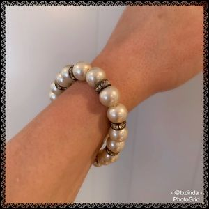 Ivory Colored Faux Pearls Bracelet with Crystals